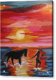 Girl And  Horse Acrylic Print