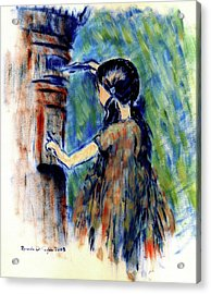 Girl And Letter Box Acrylic Print by Ricardo Di ceglia