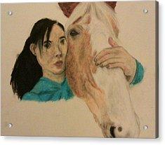 Girl And Pony Acrylic Print by Jamie Mah
