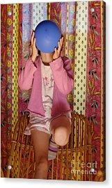 Girl Blowing Up Balloon Acrylic Print by Sami Sarkis