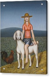 Girl Goat And Chicken Acrylic Print by Thomas Jeffreys