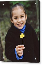 Girl Holding A Flower Acrylic Print by Ian Boddy