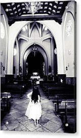 Girl In The Church Acrylic Print by Jenny Rainbow