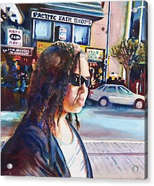 Girl In The City Acrylic Print by Maureen Dean