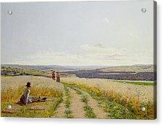 Girl In The Fields   Acrylic Print by Jean F Monchablon