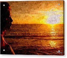 Girl In The Sunset Painting Acrylic Print by Zoh Beny