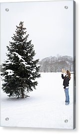 Girl Measuring Tree Height Acrylic Print by Ted Kinsman