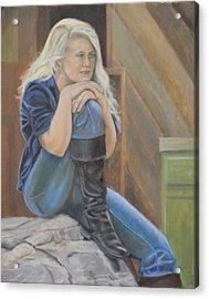 Girl On A Rock Acrylic Print
