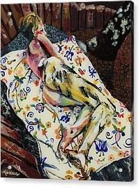 Girl On Blanket Acrylic Print by Lucia Marcus