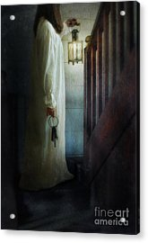 Girl On Stairs With Lantern And Keys Acrylic Print by Jill Battaglia