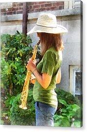 Girl Playing Saxophone Acrylic Print by Susan Savad