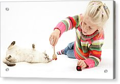 Girl Playing With Cat Acrylic Print by Mark Taylor