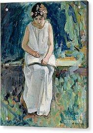 Girl Reading Acrylic Print by Henri Lebasque