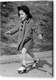 Girl Roller-skating Acrylic Print by George Marks