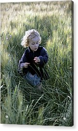 Girl Running In Wheat Field Acrylic Print by Sami Sarkis