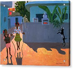 Girl Skipping Acrylic Print by Andrew Macara