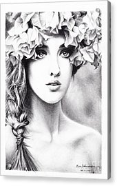 Girl With A Floral Crown Acrylic Print by Muna Abdurrahman