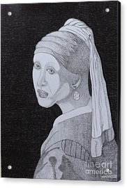 Acrylic Print featuring the drawing Girl With A Pearl Earring by Gerald Strine