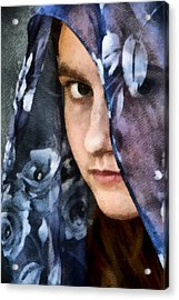Girl With A Rose Veil 3 Illustration Acrylic Print