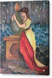 Girl With Fire Acrylic Print by Muhammed Mudassir