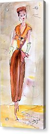 Girl With Pillbox Hat Vintage Fashion  Acrylic Print by Ginette Callaway