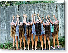 Girls And Long Hair Acrylic Print by Jenny Senra Pampin