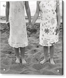 Girls Holding Hand On Beach Acrylic Print by Michelle Quance