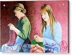 Girls Knitting Acrylic Print