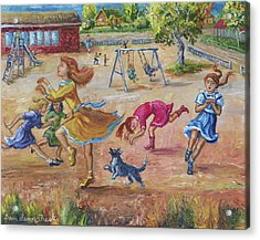Girls Playing Horse Acrylic Print
