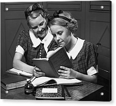 Girls Studying Tegether Acrylic Print by George Marks
