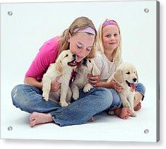 Girls With Puppies Acrylic Print by Jane Burton