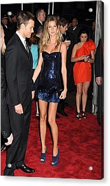 Gisele Bundchen Wearing A Versace Dress Acrylic Print by Everett