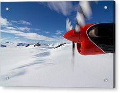Glacier And Engine Acrylic Print by Mike Denton