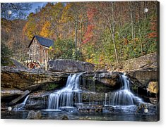 Acrylic Print featuring the photograph Glade Creek Grist Mill At Babcock by Williams-Cairns Photography LLC