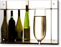 Glass Of Champagne Acrylic Print by Charlotte Lake