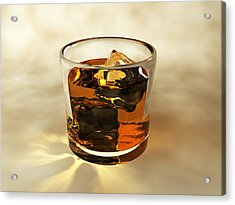 Glass Of Whiskey, Computer Artwork Acrylic Print by Christian Darkin