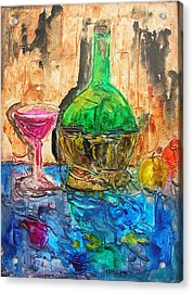 Glass Of Wine Acrylic Print by Mary Kay Holladay