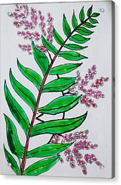 Glass Painting-plant Acrylic Print by Rejeena Niaz