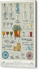Glassware, Historical Artwork Acrylic Print by Mid-manhattan Picture Collectionglassnew York Public Library