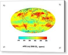 Global Carbon Dioxide Transport, 2008 Acrylic Print by Nasajpl