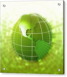 Globe Focus On Americas, Digital Acrylic Print by Chad Baker