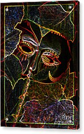 Acrylic Print featuring the relief Glowing Mask With Leaves by Nareeta Martin