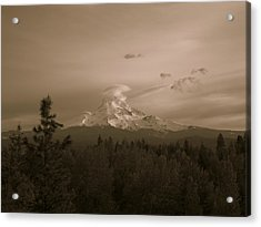 Glowing Mt. Hood Acrylic Print by Melissa  Maderos