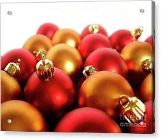 Gold And Red Xmas Balls Acrylic Print by Carlos Caetano
