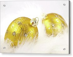 Gold Balls With Feathers Acrylic Print by Sandra Cunningham