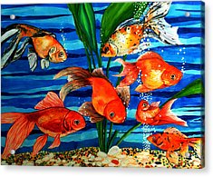 Gold Fishes Acrylic Print by Johnson Moya