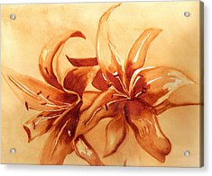 Gold Lilies Acrylic Print
