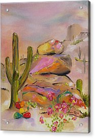 Acrylic Print featuring the painting Gold-lined Rocks by Judith Rhue