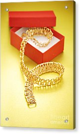 Gold Necklace Acrylic Print by HD Connelly