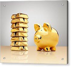 Gold Piggy Bank Beside A Stack Of Ingots Acrylic Print